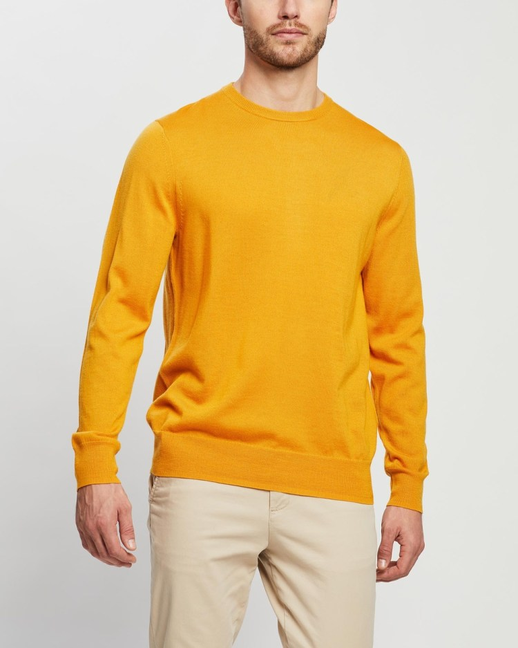 3 Wise Men The Quentin Merino Knit Jumpers & Cardigans Mustard