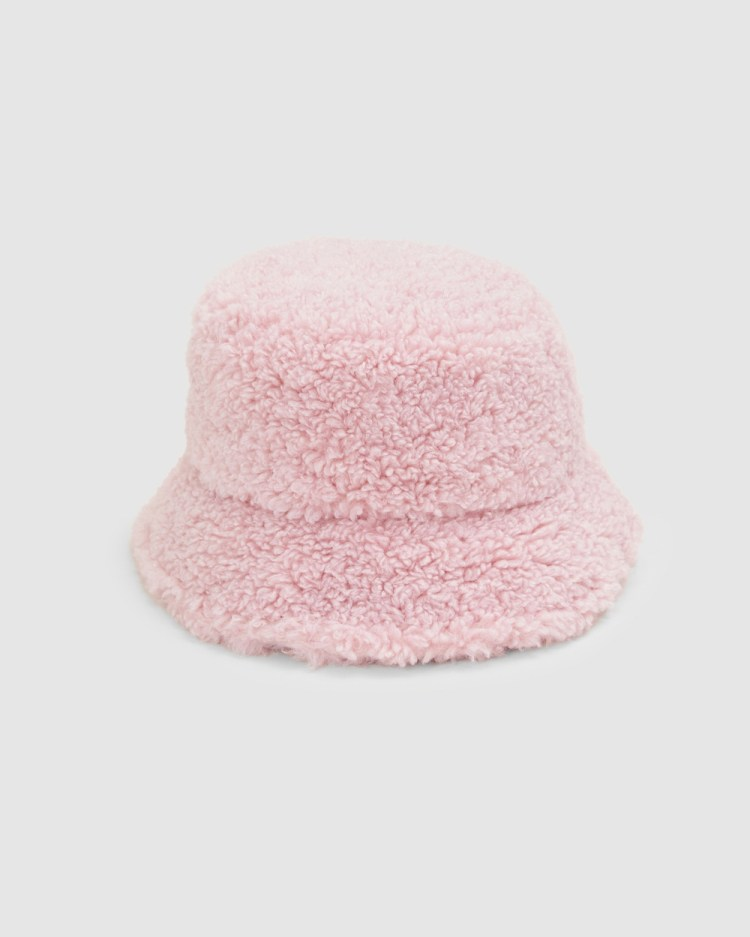 French Connection Teddy Bucket Hat Hats DUSTY PINK