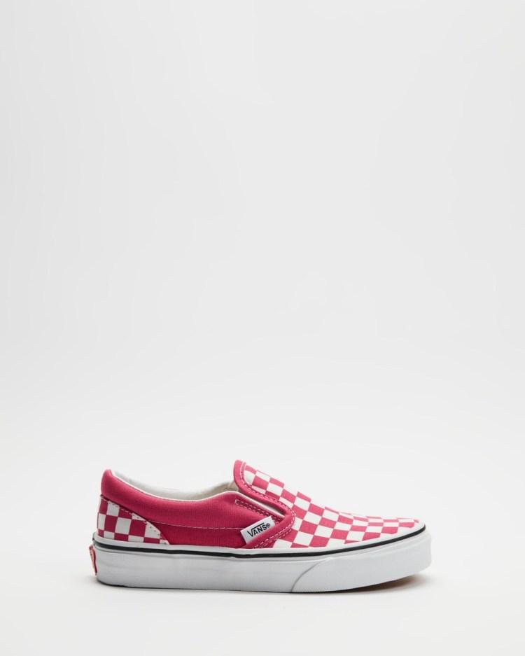 Vans Classic Slip On Kids Teens Slip-On Sneakers Checkerboard Fuchsia Purple Kids-Teens