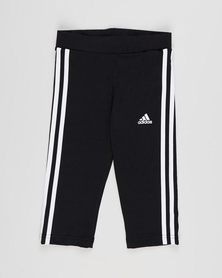 adidas Performance 3 Stripes 4 Tights Kids Teens 3/4 Black & White 3-Stripes 3-4 Kids-Teens