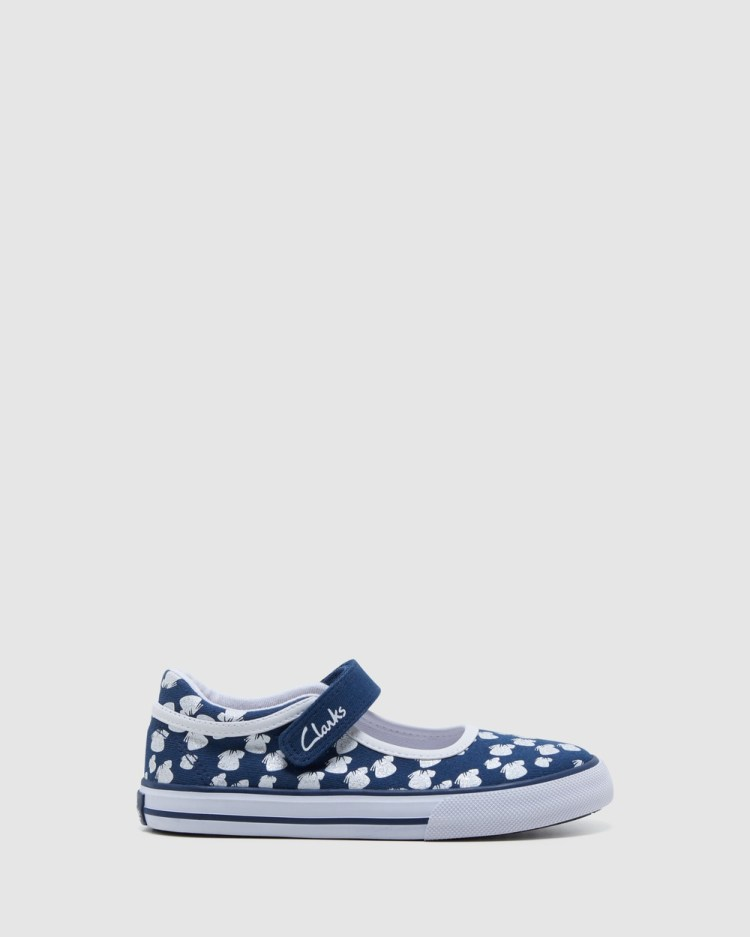 Clarks Lizzie Sneakers Navy/White Butterfly
