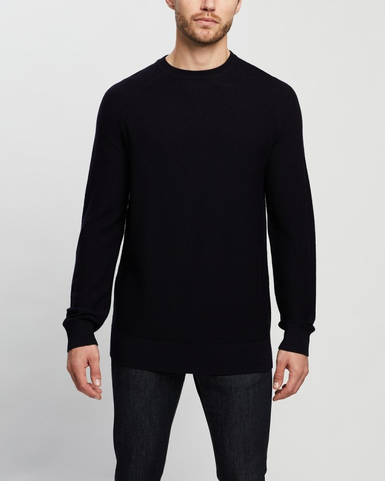 3 Wise Men The Cyrus Lamsbwool Knit Jumpers & Cardigans Navy