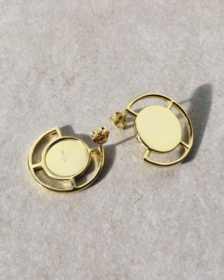CA Jewellery Deco Large Stud Earrings Gold gold