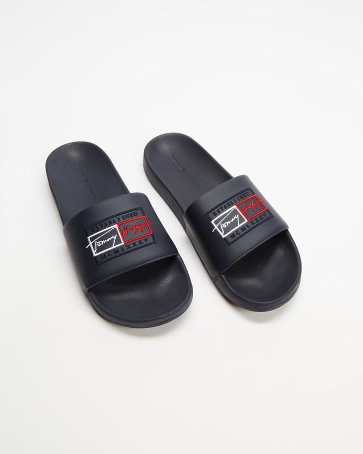 Tommy Hilfiger Embroidered Signature Slides Men's Casual Shoes Desert Sky