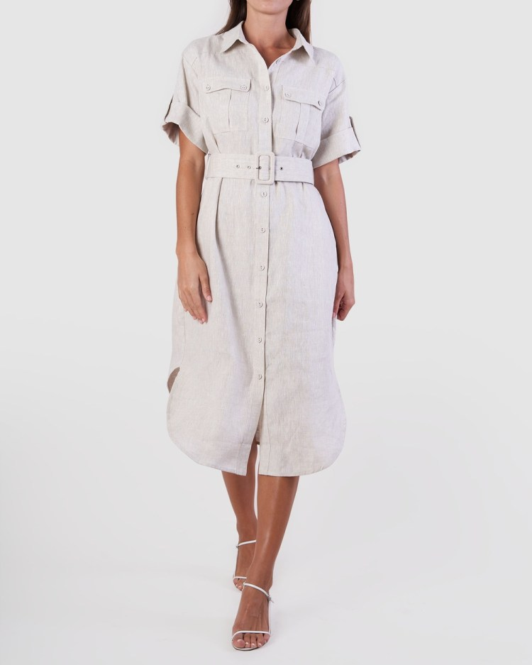 Amelius Provence Linen Shirt Dress Dresses Natural