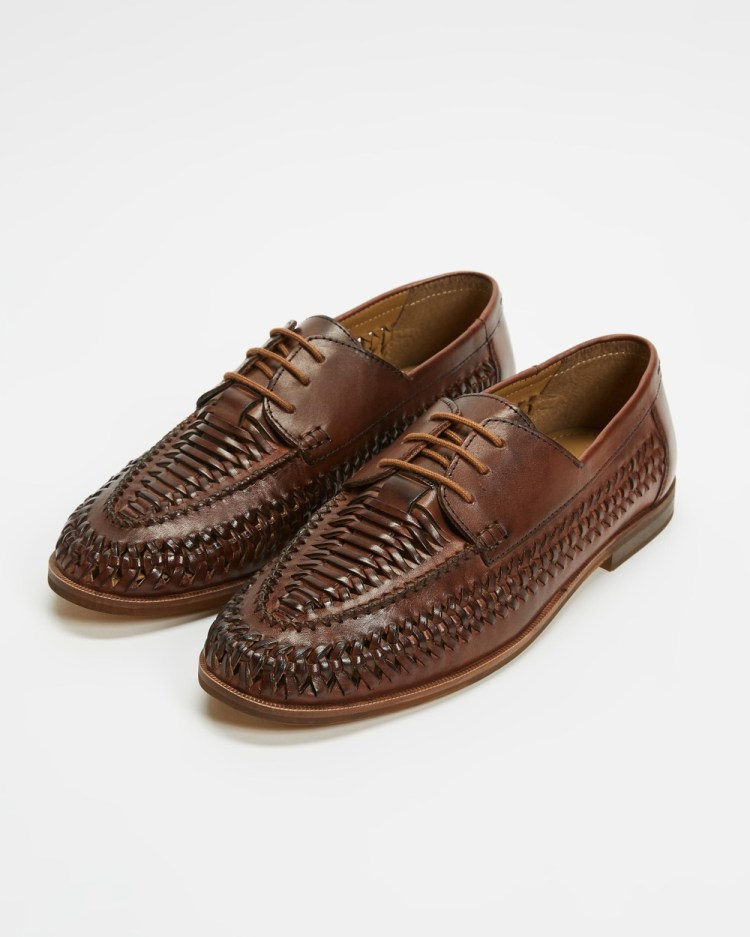 Staple Superior Miguel Woven Lace Up Casual Shoes Brown