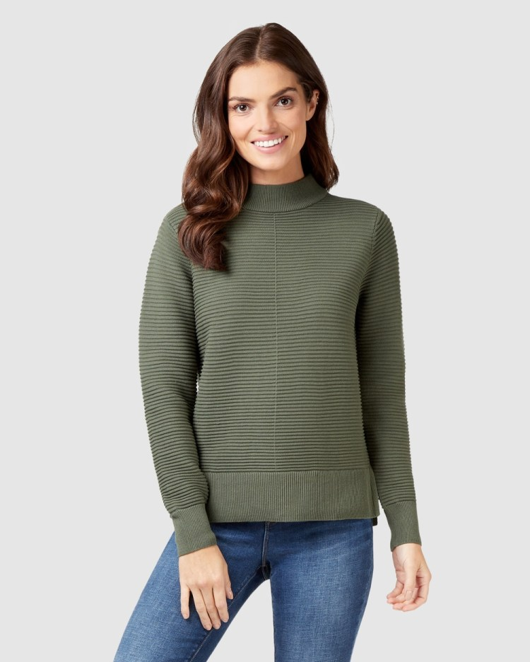 Jeanswest Hailey Cotton Knit Thyme Jumpers & Cardigans Thyme