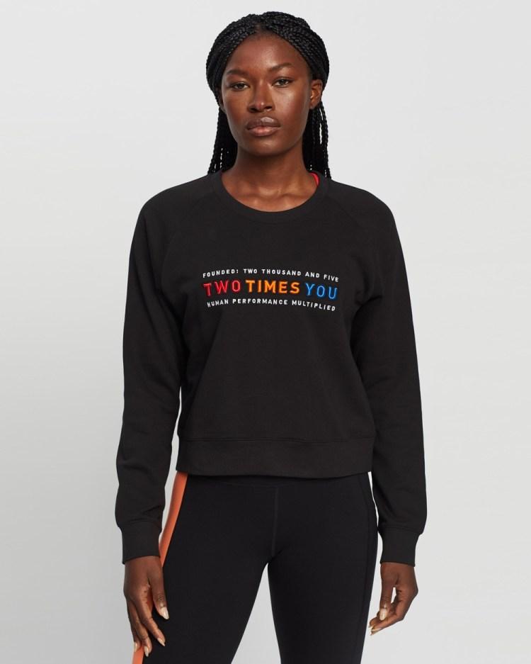 2XU Form Crop Crew Sweatshirt Sweats Black & High Risk Red