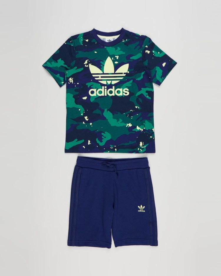 adidas Originals Allover Print Camo Short & Tee Set Kids Shorts Night Sky Multicolour