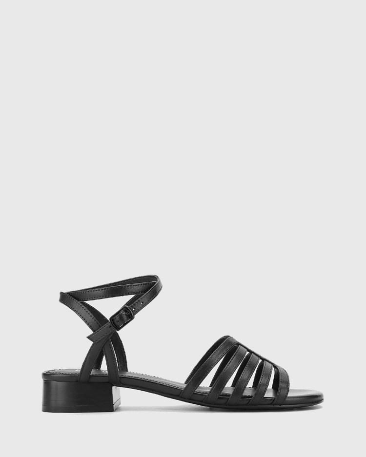 Wittner Bastille Leather Open Toe Flat Sandals Black