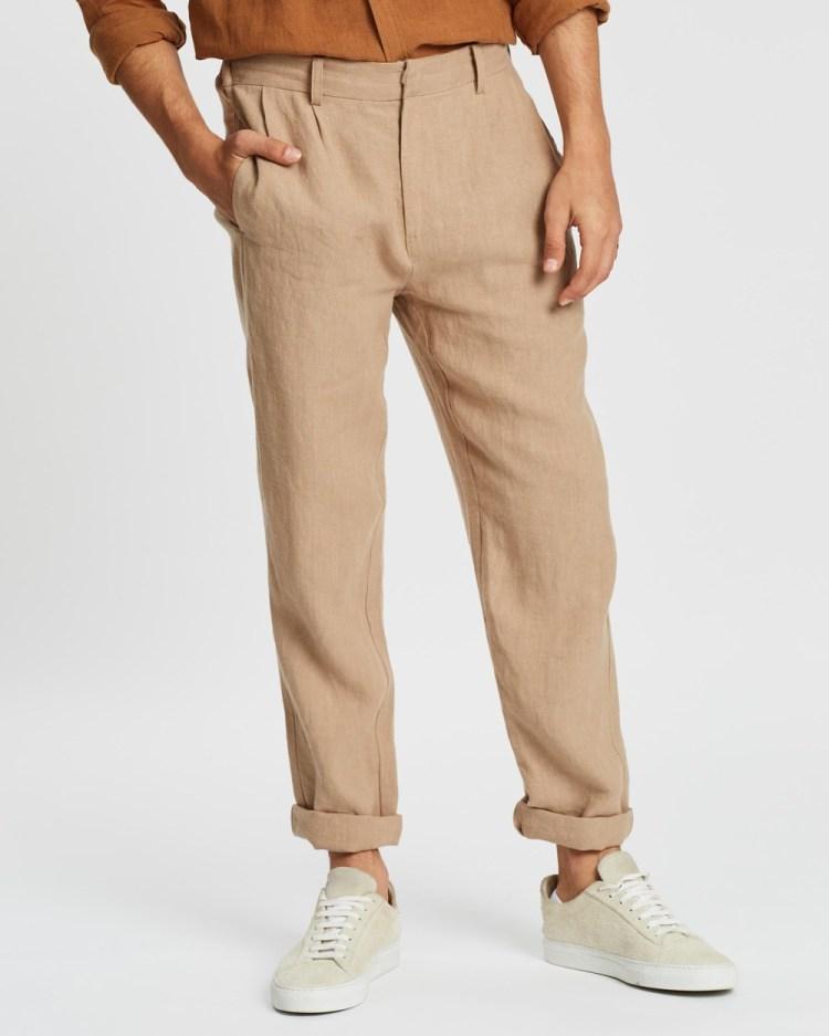 AERE Linen Pleated Pants Sand