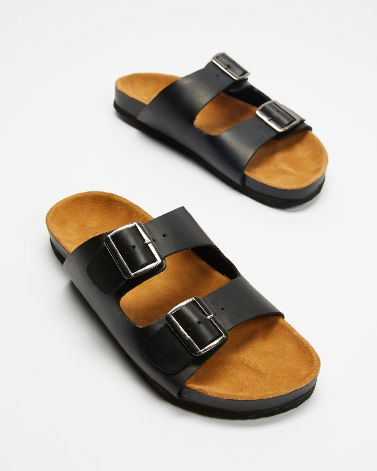AERE Two Strap Buckle Leather Sandals Casual Shoes Black