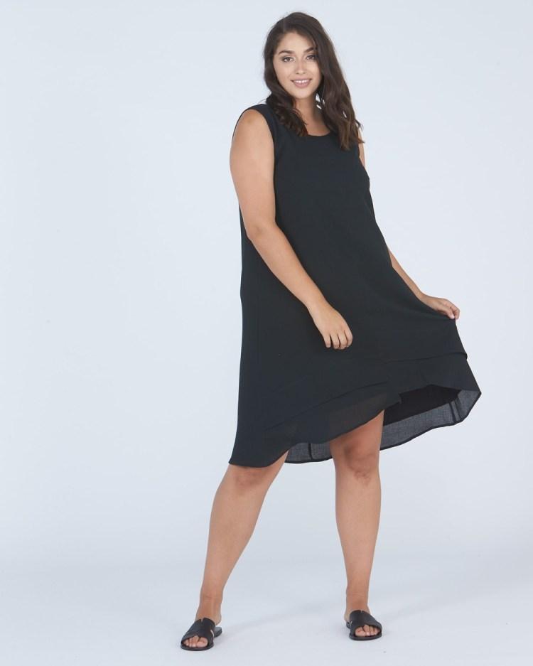 Advocado Plus Step Hem Lined Dress Dresses Shadow