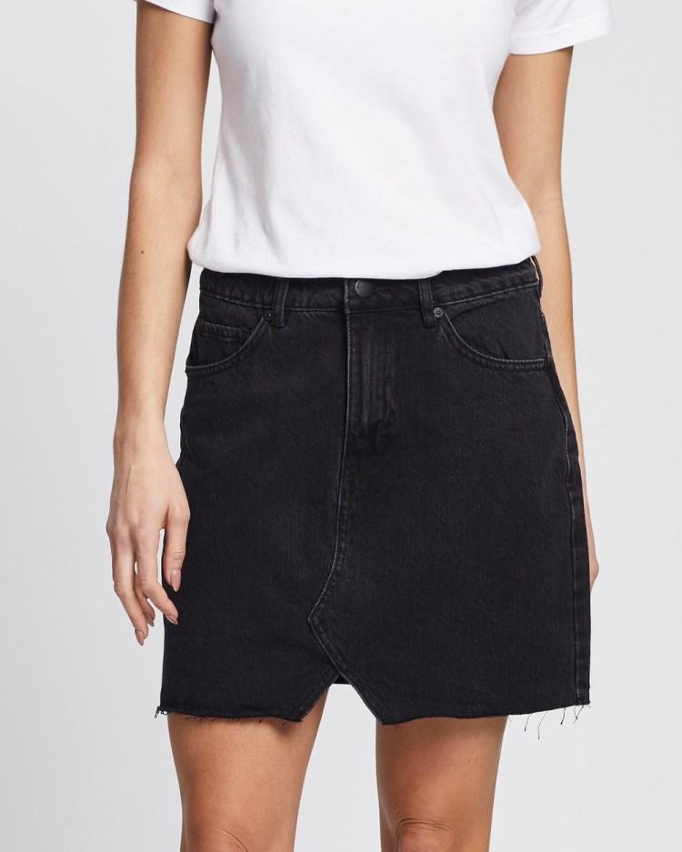 All About Eve Shea Split Denim Skirt skirts WASHED BLACK