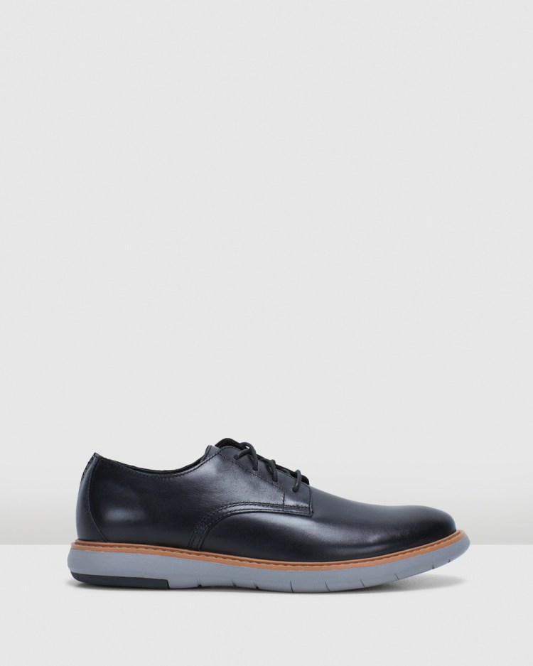 Clarks Draper Lace Casual Shoes Black Leather/Grey Sole