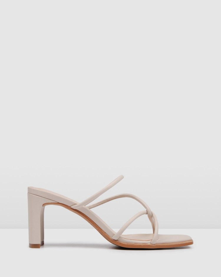 Jo Mercer Novi Mid Heel Sandals BONE LEATHER