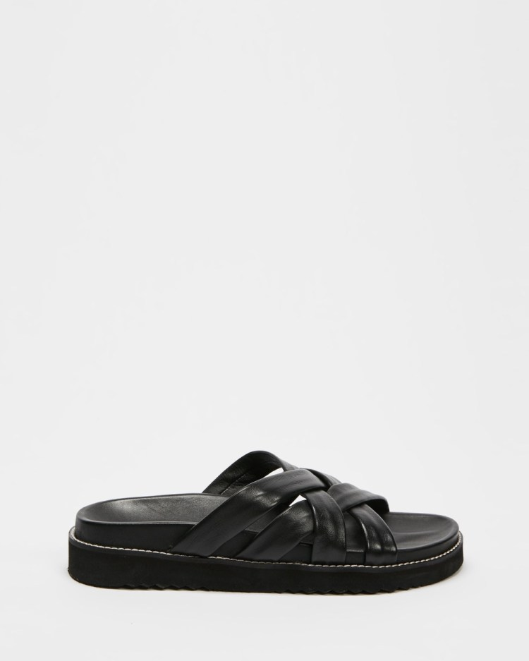 AERE Crossover Strappy Leather Footbed Slides Sandals Black Leather