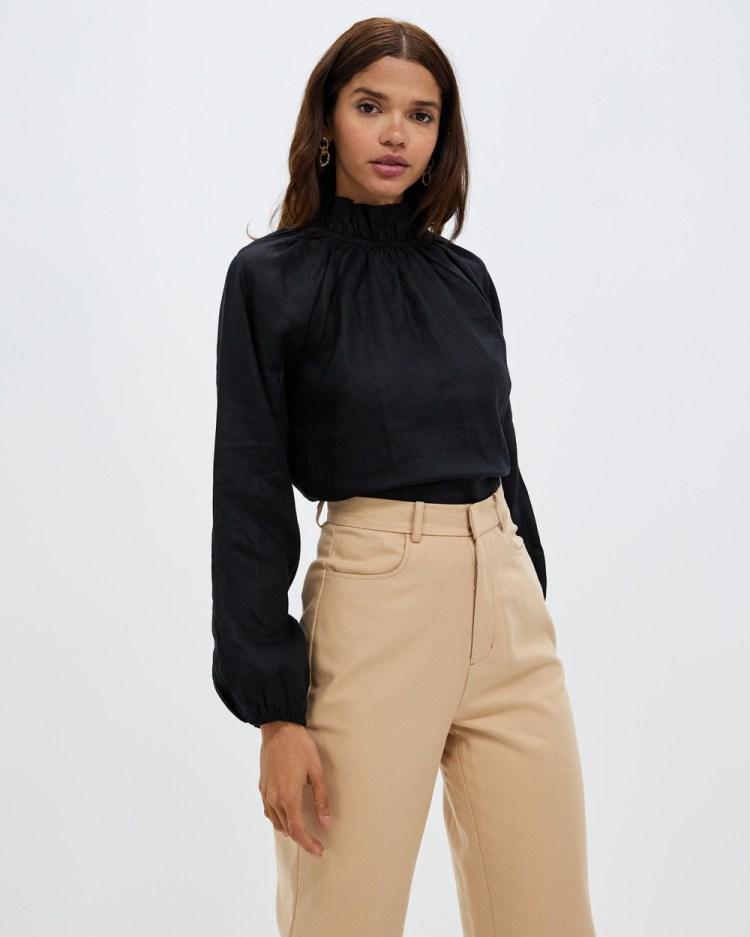 AERE High Neck Linen Blouse Tops Black