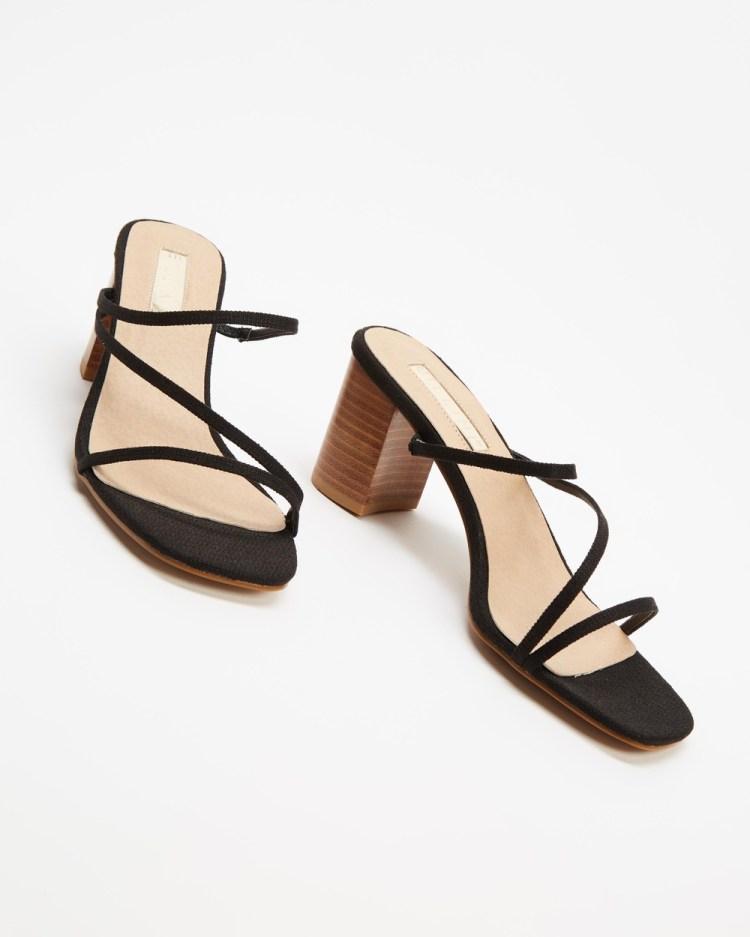 Billini Yazmin Mid-low heels Black Linen & Natural