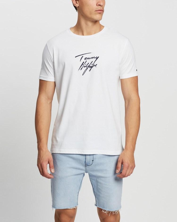 Tommy Hilfiger Short Sleeve Logo Tee T-Shirts & Singlets Classic White