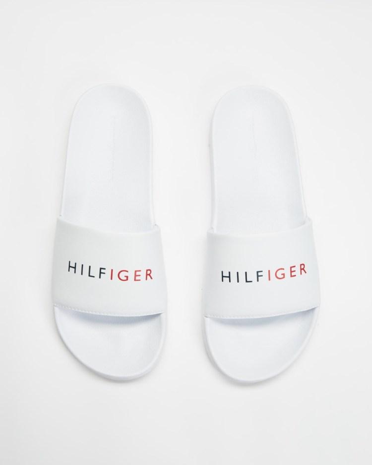 Tommy Hilfiger Raised Pool Slides White