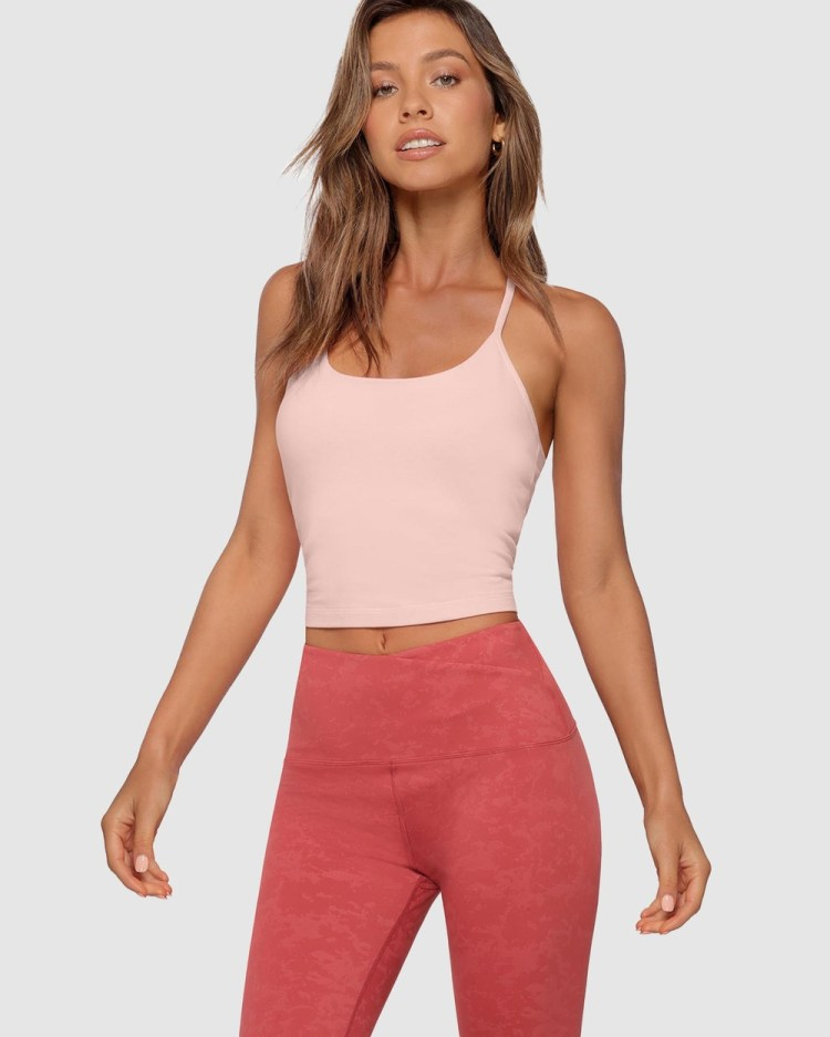 Lorna Jane Athletic Cropped Tank Bra Combo Crop Tops Washed Wisteria Pink