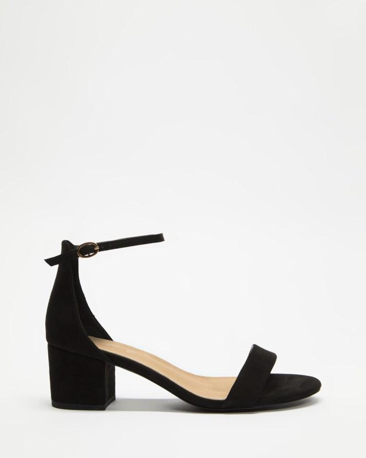 SPURR Lunar Wide Fit Considered Heels Sandals Black Microsuede