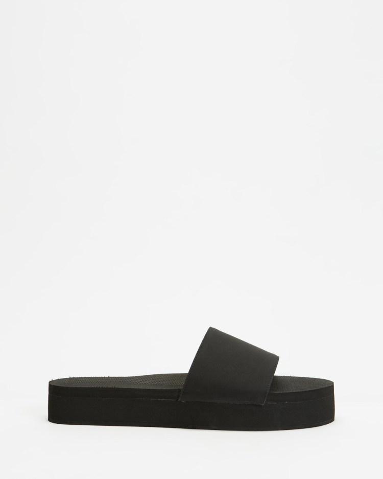 Indosole PLATFORM Slides Sandals Black