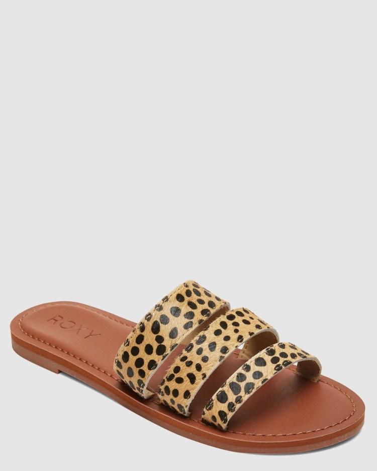 Roxy Womens Wyld Rose Leather Slides Sandals CHEETAH PRINT