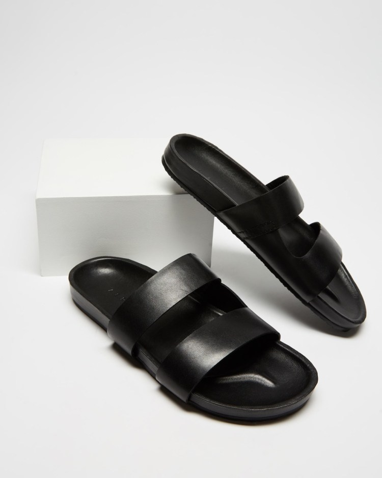 AERE Mojave Leather Slides Casual Shoes Black