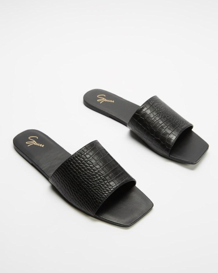 SPURR Toni Slides Sandals Black Croc