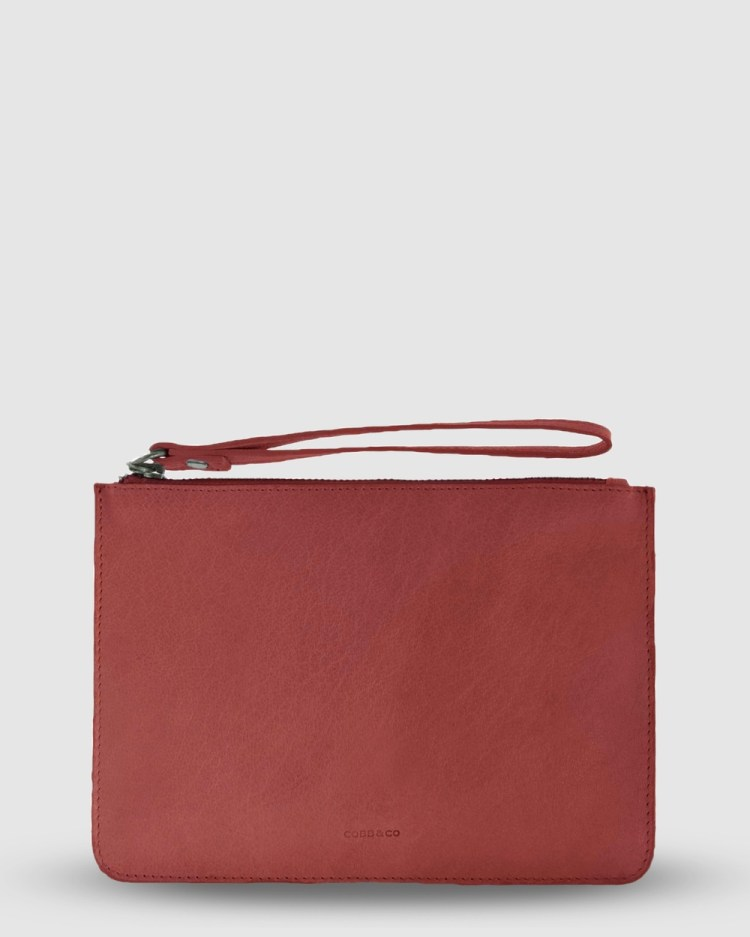 Cobb & Co Mossman Leather Large Pouch Bags Red