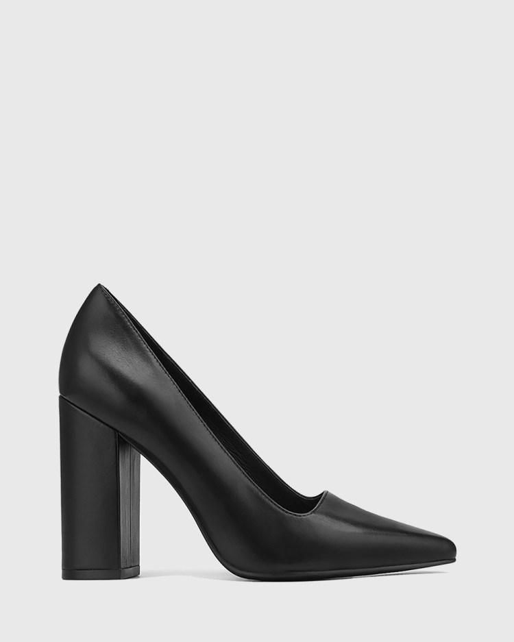 Wittner Webster Leather Block Heel Pointed Toe Pumps All Black