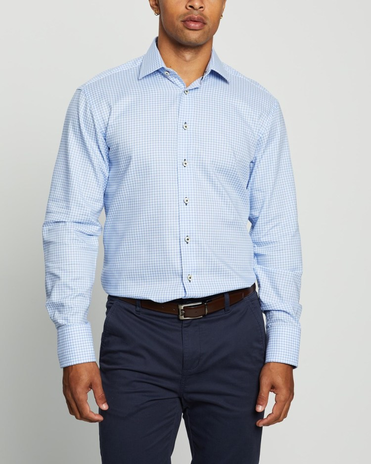 3 Wise Men The Moxham Tailored Shirt Shirts & Polos Blue Gingham