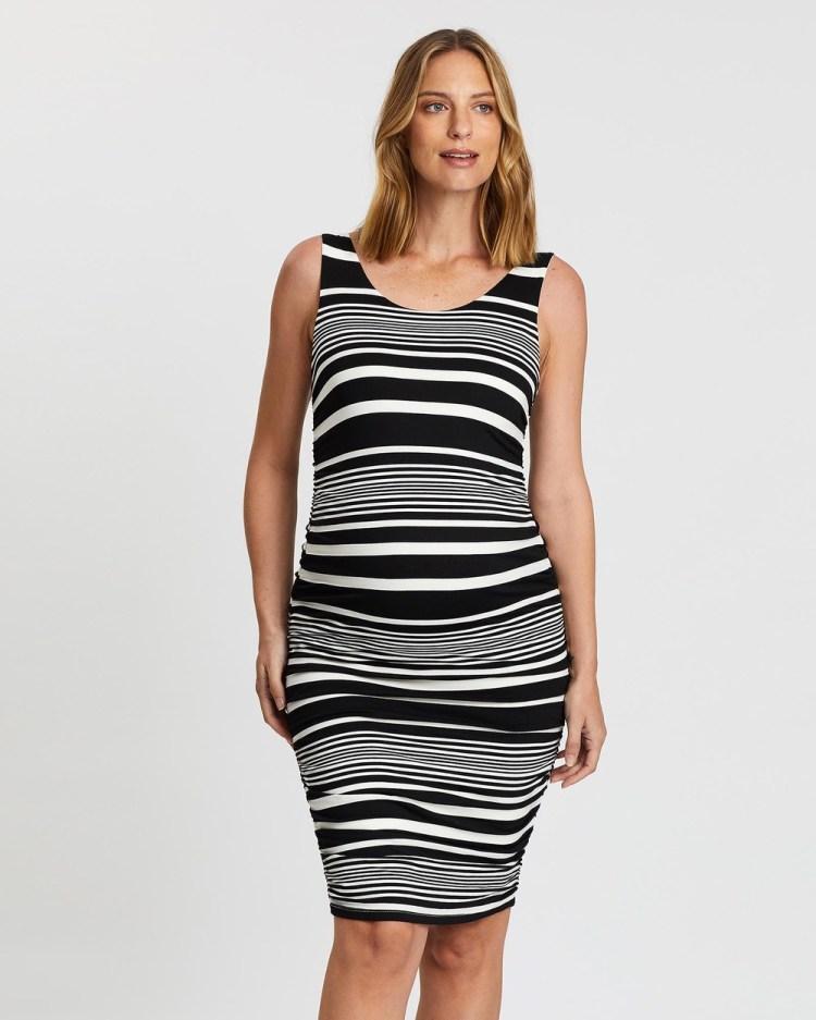 Angel Maternity Bodycon Fitted Sleeveless Dress Dresses Black Stripes