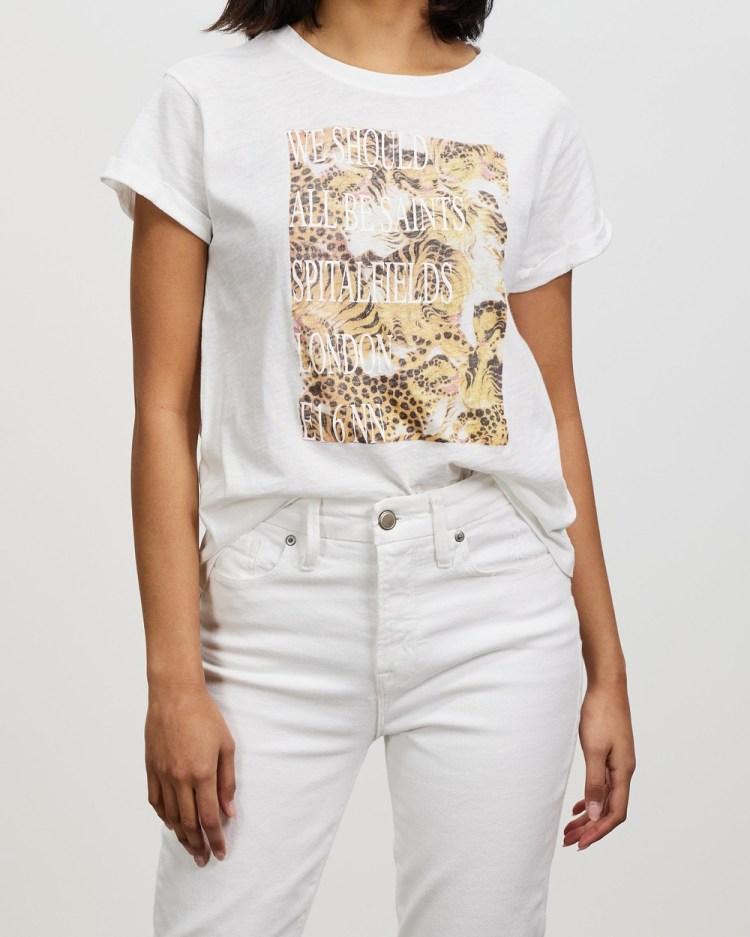 AllSaints Boxsaints Pryde Anna Tee T-Shirts & Singlets Optic White