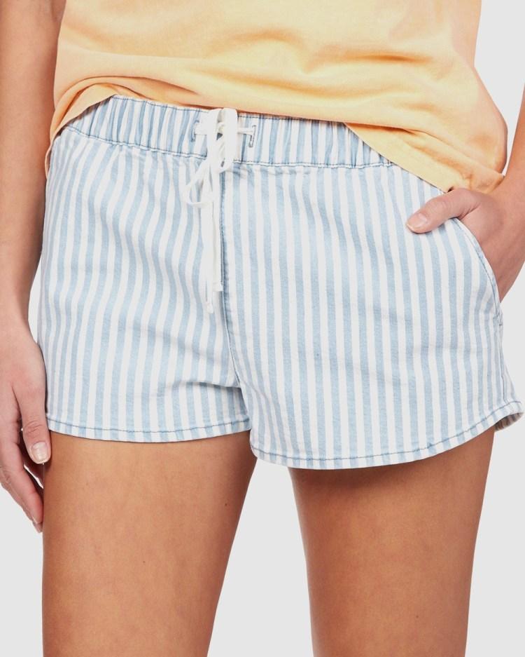 Roxy Womens Go To The Beach Striped Denim Short Medium Blue