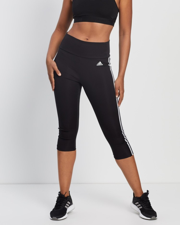adidas Performance Designed To Move High Rise 3 Stripes 4 Sport Tights 3/4 Black & White High-Rise 3-Stripes 3-4