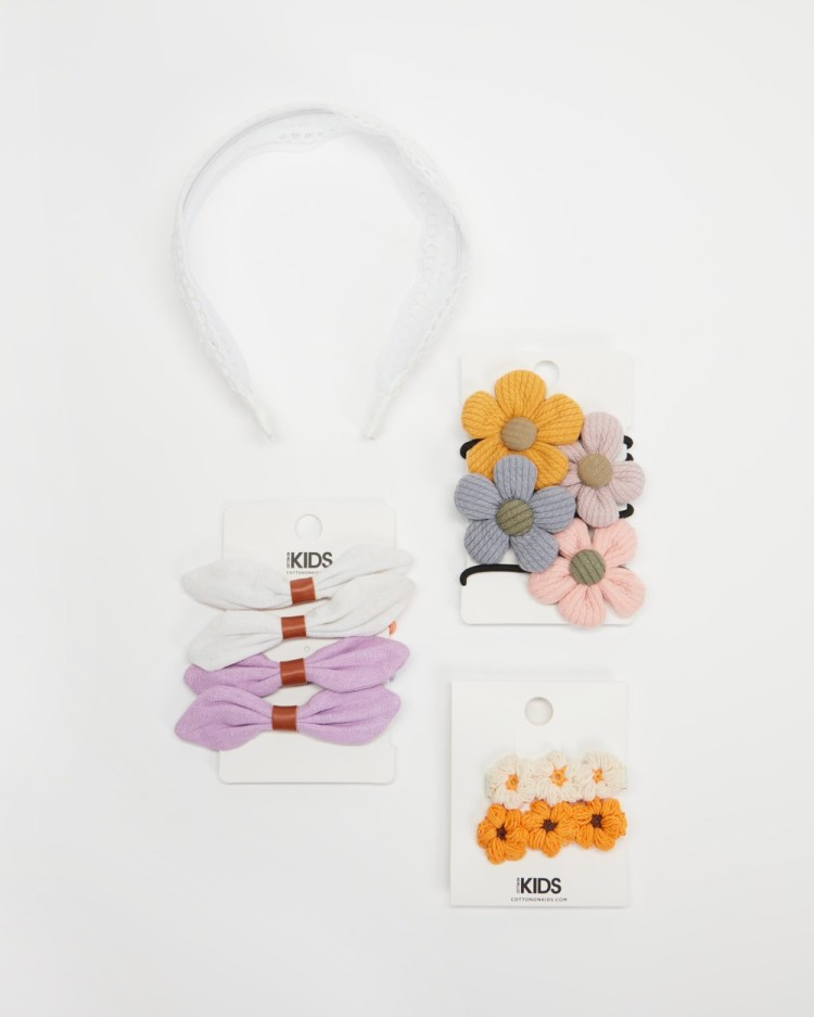 Cotton On Kids Hair Ties & Clips Multi Pack Accessories Mixed Boho Floral Pack