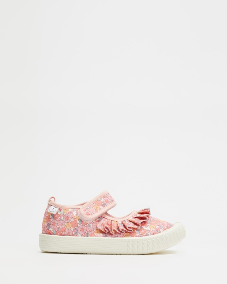 Walnut Melbourne Play MJ Frill Canvas Sneakers Kids Happy Days Pink