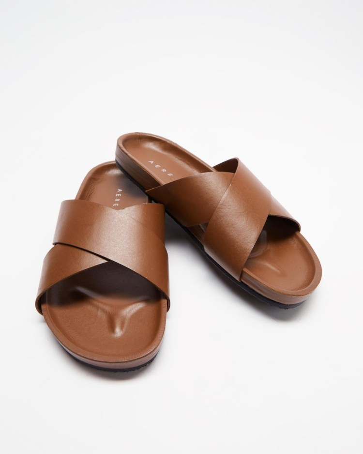 AERE Brunswick Leather Slides Casual Shoes Brown