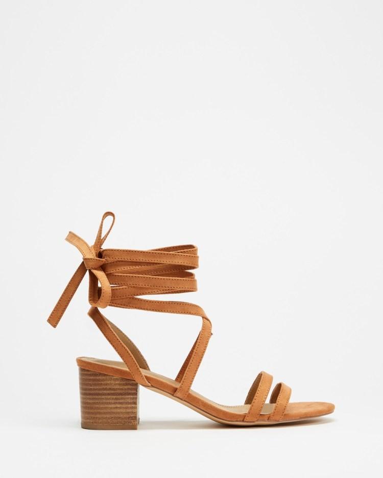 SPURR Leonne Heels Mid-low heels Tan Microsuede