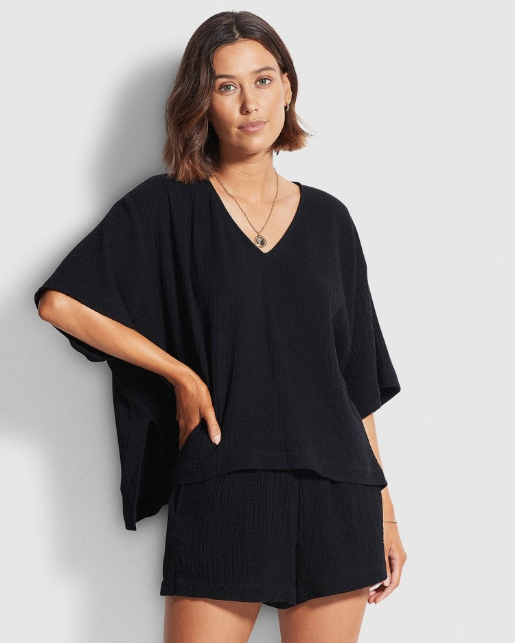 Seafolly Double Cloth Top Tops Black