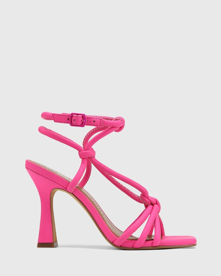Wittner Roxanne Leather Flared Heel Strappy Sandals Pink