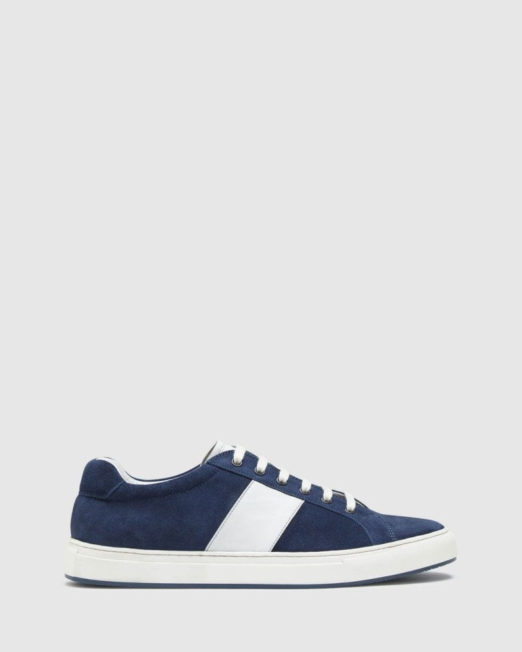 Oxford Harvey Suede Trainers Casual Shoes Blue