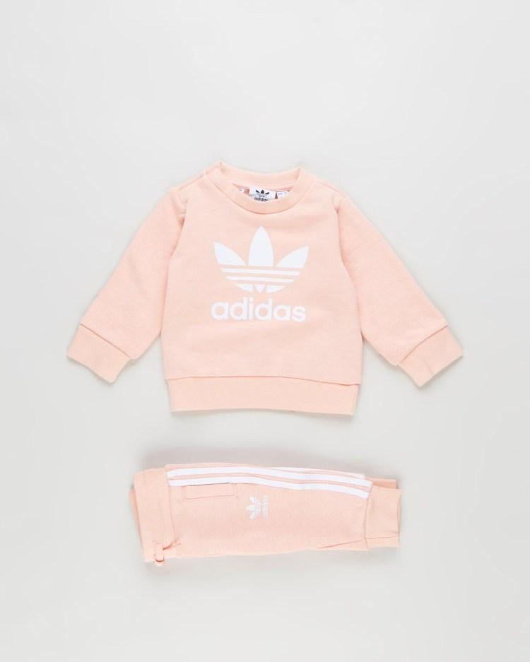 adidas Originals Crew Sweatshirt Set Babies Sweats Haze Coral & White