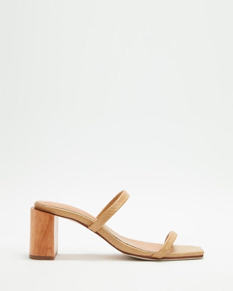 JAMES   SMITH Sirenuse Strap Sandal Heels Sandals Crema