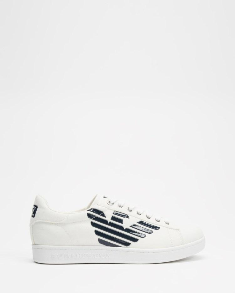 Emporio Armani EA7 Low Logo Sneakers Men's White & Navy
