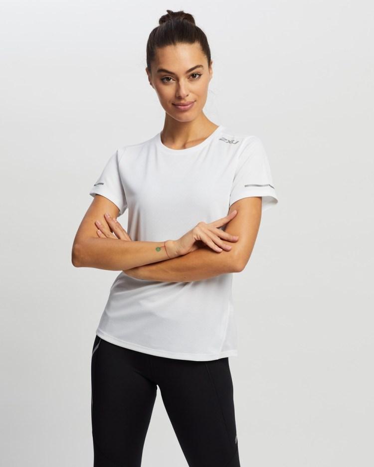 2XU Aero Tee Short Sleeve T-Shirts White & Silver Reflective