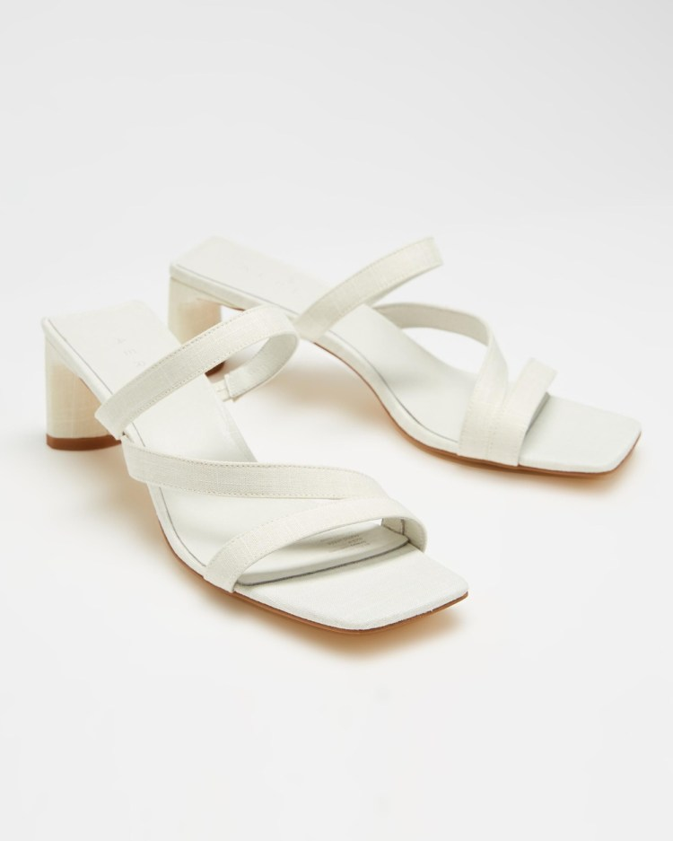 AERE Asymmetrical Strappy Linen Heels Shoes Off White Linen